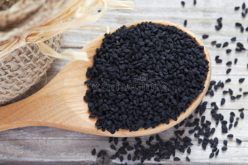 Black cumin seed stock photo