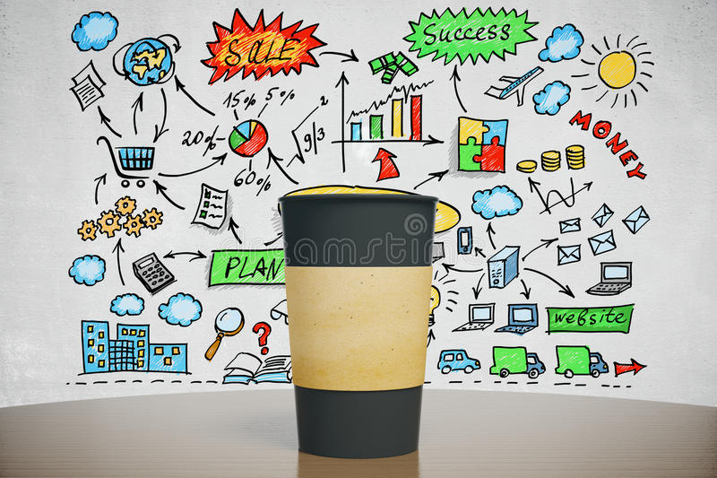 Black cup of coffee with business idea concept. Mock up stock image
