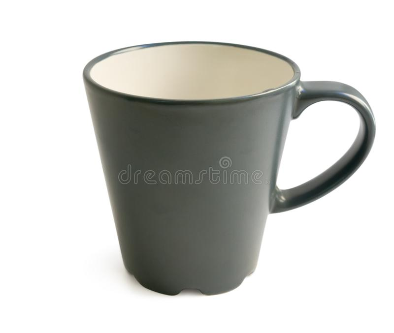 Black cup isolated on white with clipping path stock photography