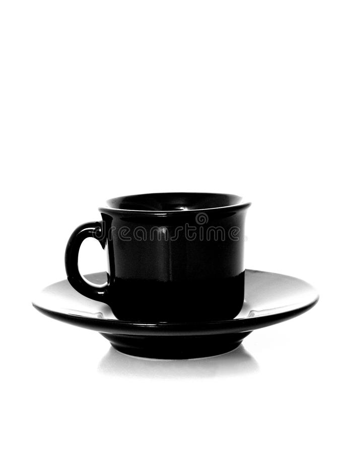 Black Cup and Saucer stock image