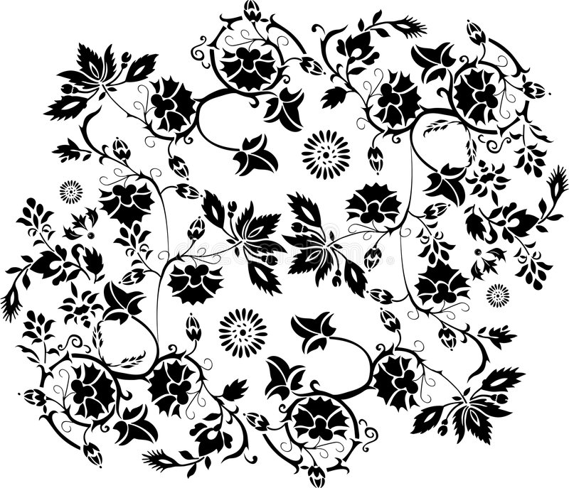 Black curls with leaves vector illustration