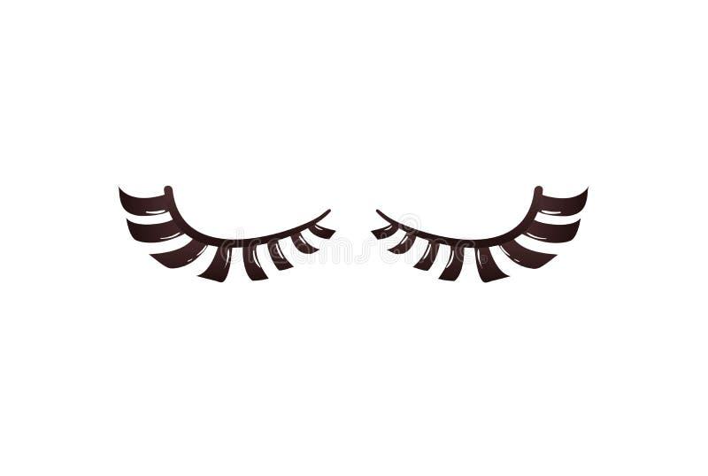 Black curly eyelashes in flat cartoon style stock illustration
