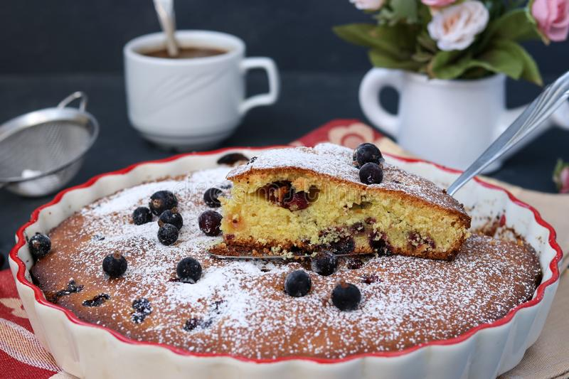 Black currant cake is located in a ceramic form with a cut piece of cake stock photo