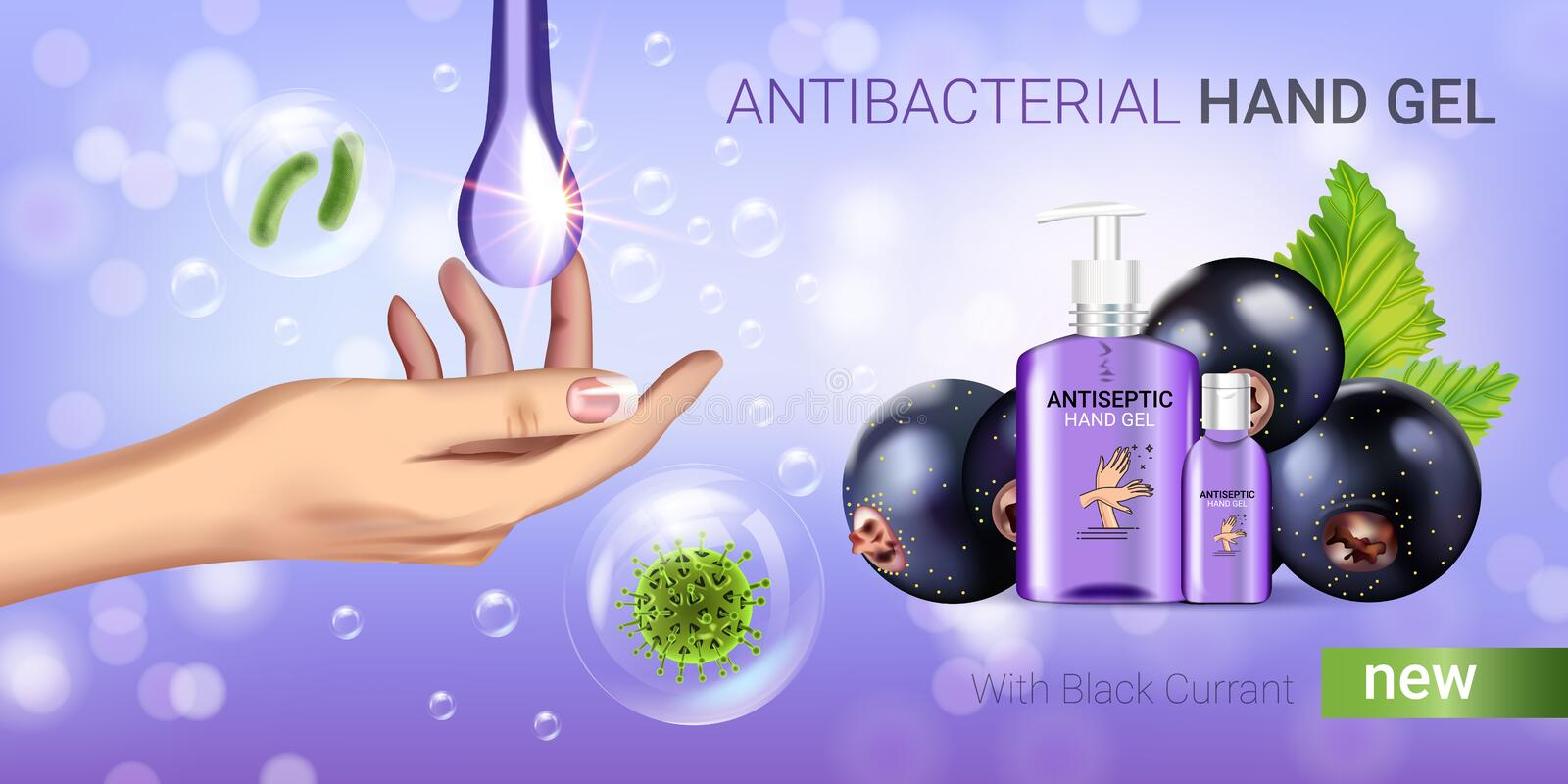 Black currant flavor antibacterial hand gel ads. Vector Illustration with antiseptic hand gel in bottles and blackcurrant elements stock illustration