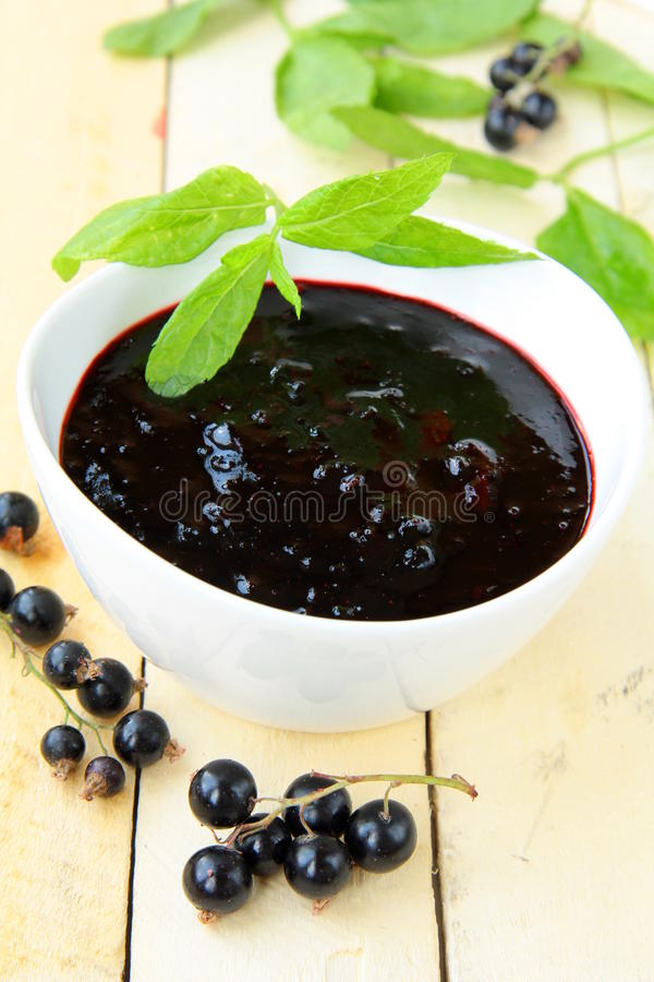 Black currant jam. With mint leaves stock image
