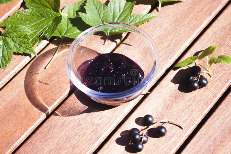 Black currant jam stock photography
