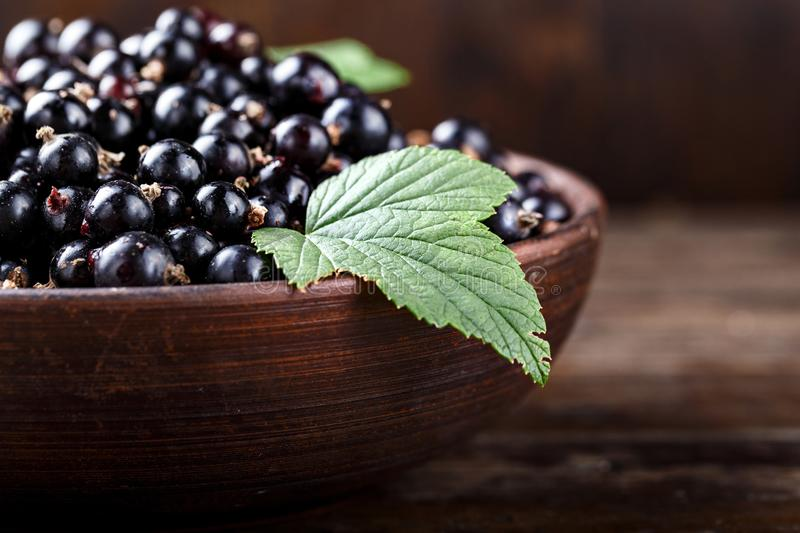 Black currant on a wooden background stock image