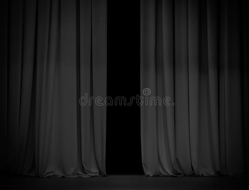 Black curtain background slightly open. Black curtain stage background slightly open stock image