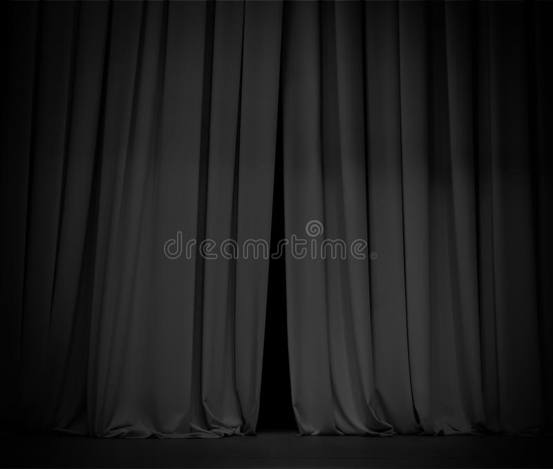 Black curtain background open a little bit. Black curtain stage background a little bit open royalty free stock photos