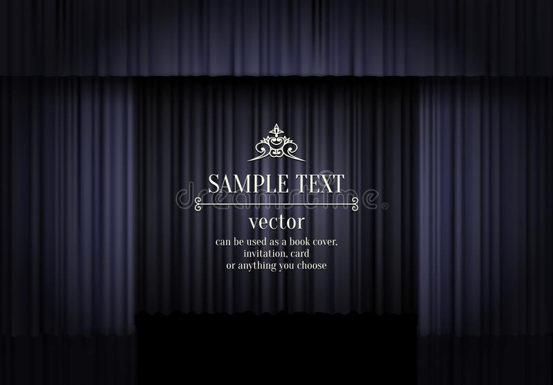 Black curtain theatre stage luxury abstract background with vintage style text. Dark curtain vector illustration. Black stock illustration