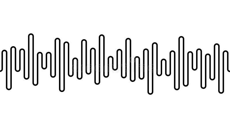 Black curvy line on white background. Radio wave or music equalizer, sound wave. Stylized Cardiogram, interface design stock illustration