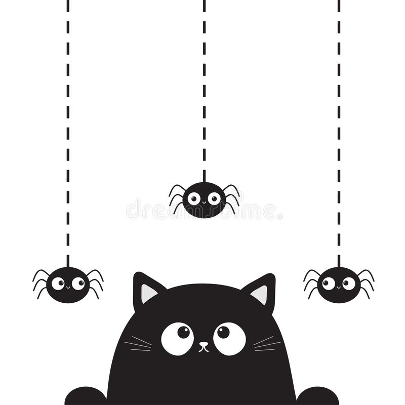 Black cute cat kitten face head looking on hanging spider. Dash line. Paw print. Cartoon kitty funny character. Kawaii animal. Hal royalty free illustration