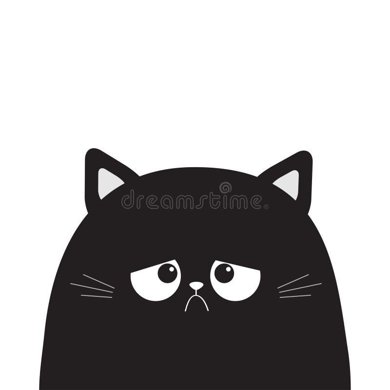 Black cute sad grumpy cat kitten silhouette. Bad emotion face. Cartoon kitty character. Kawaii funny animal. Love Greeting card. F. Lat design. White background vector illustration