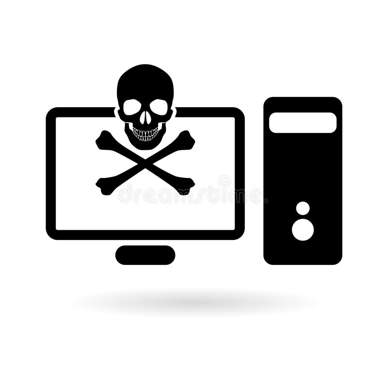 Black Cyber risks icon o rlogo, data and network protection. On white stock illustration