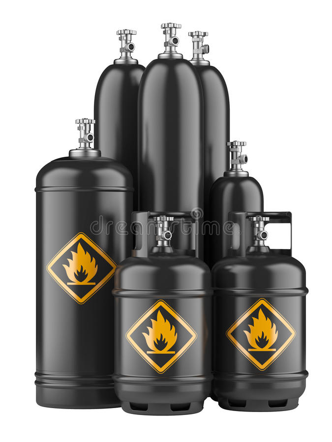 Black cylinders with compressed gas. Isolated on a white background royalty free illustration