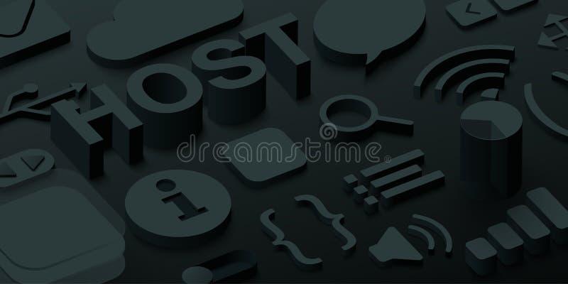 Black 3d host background with web symbols. royalty free illustration