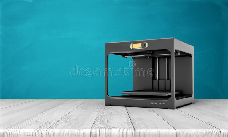 Black d printer standing on white wooden table with blue