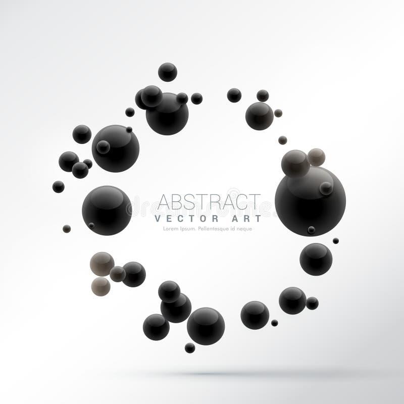 Black 3d spheres frame background vector illustration