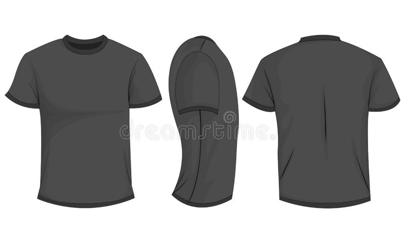 Black/dark gray mens t-shirt with short sleeves. Front, back, side view. Isolated on white background. Vector illustration, EPS10 vector illustration