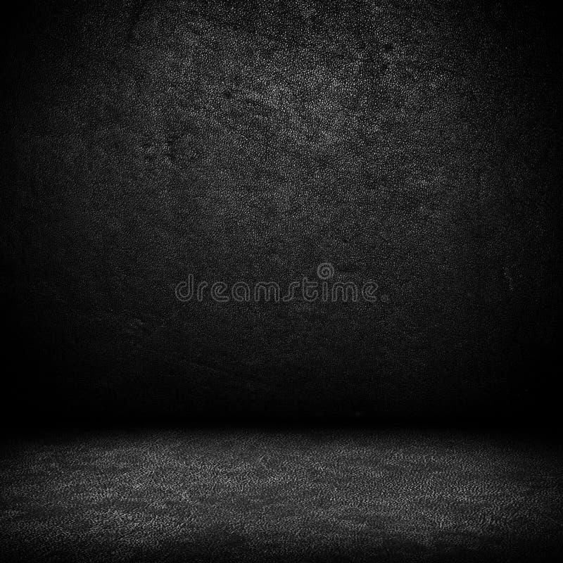 Black dark leather wall and black floor interior b royalty free illustration