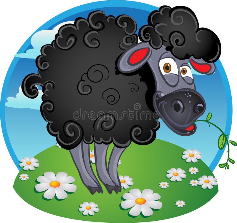 Black dark sheep with blade of grass on color stock photography