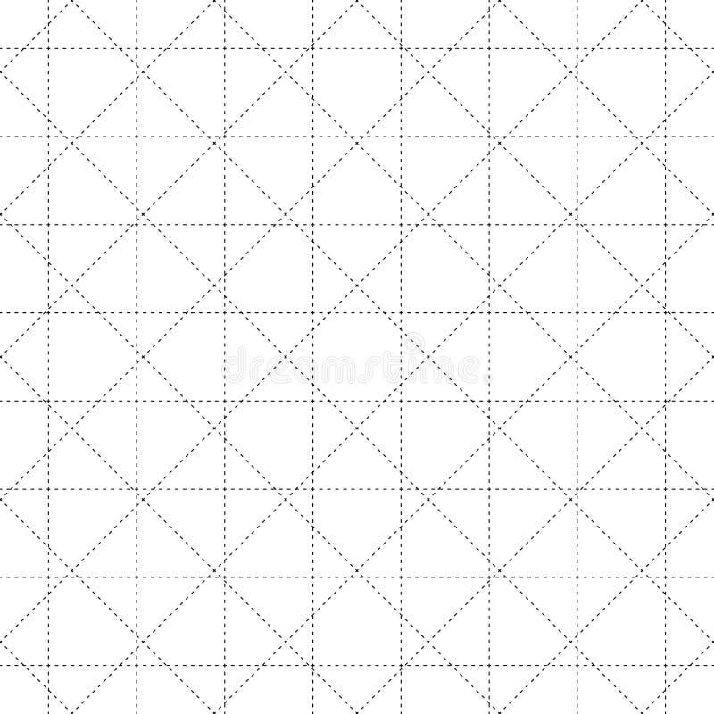 Black Dash Square and Diamond Seamless on White Background. Vector Illustration. vector illustration