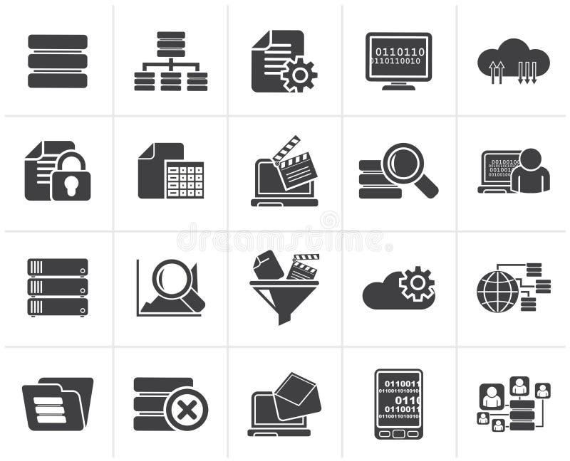 Black data and analytics icons royalty free illustration