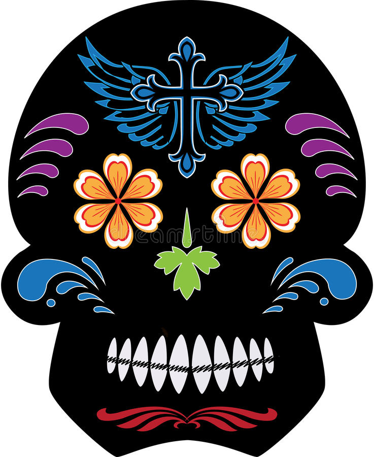 Black Day of the Dead Sugar Skull royalty free illustration