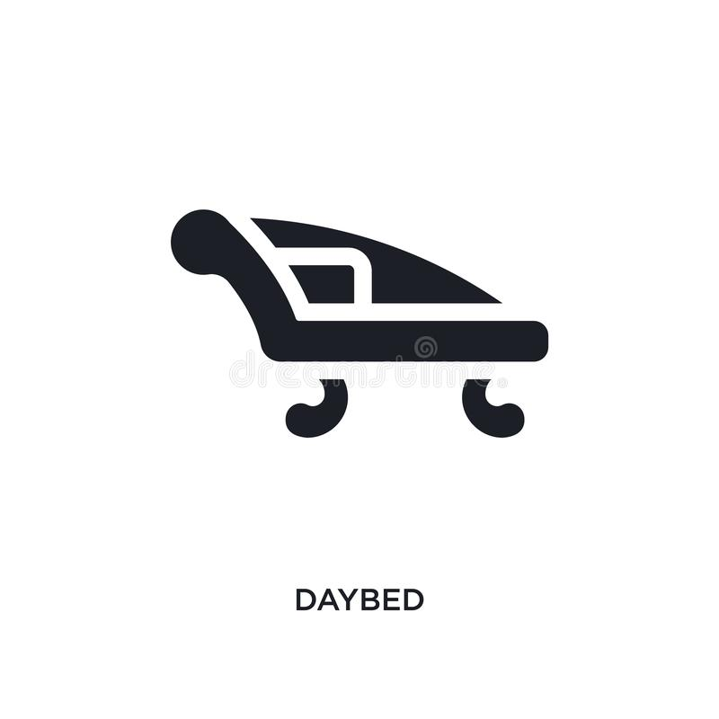 Black daybed isolated vector icon. simple element illustration from furniture and household concept vector icons. daybed editable. Black logo symbol design on vector illustration