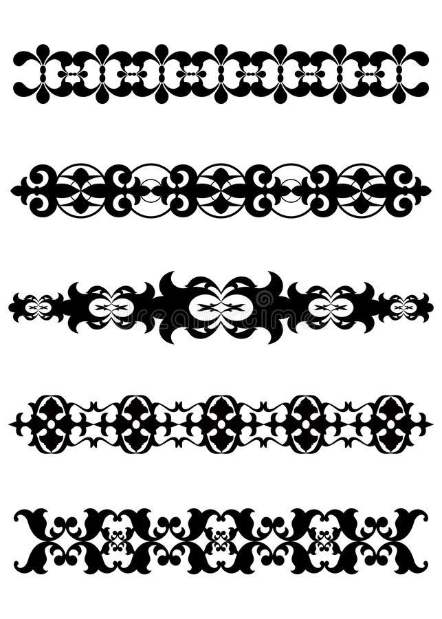 Black decorative dividers borders royalty free stock photography
