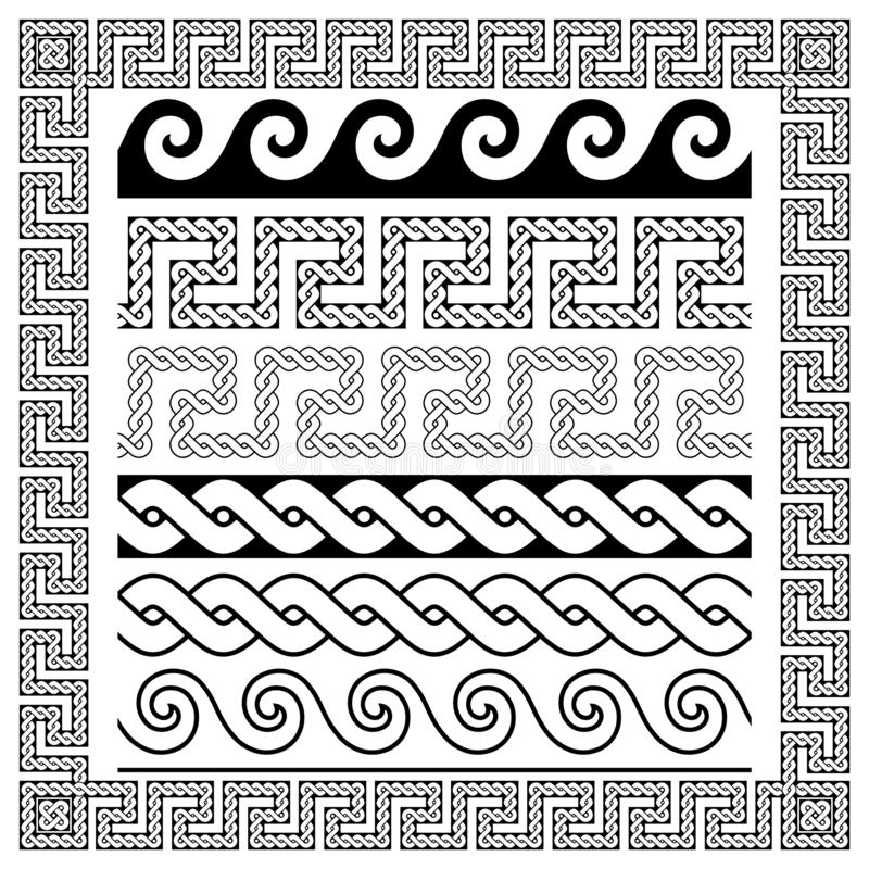 Black decorative frame in vintage style and roman patterns. On white background vector illustration