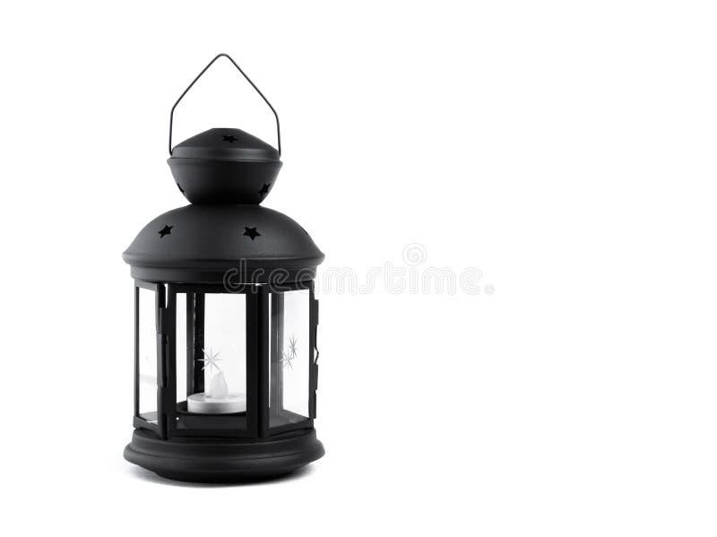 Black decorative lantern, isolated on white. Black christmas decorative lantern, isolated on white stock photos