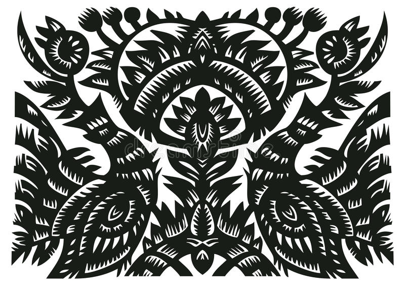 Download Black Decorative Pattern With Birds And Flowers Stock Photo - Image: 23062990