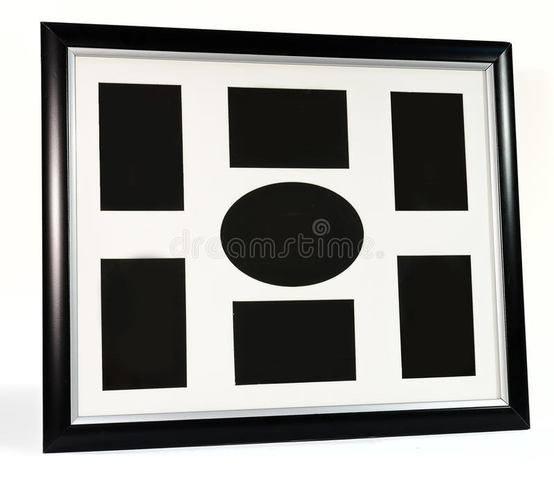 Black decorative photo frame. Multi frame set stock photos