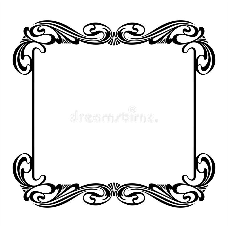 Black Decorative Square Frame In The Art Nouveau Style Stock Vector ...