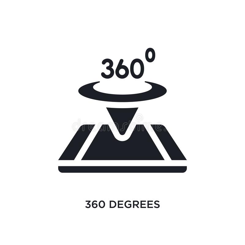 black 360 degrees isolated vector icon. simple element illustration from augmented reality concept vector icons. 360 degrees royalty free illustration