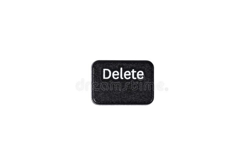 Black delete button closeup on white background. Black delete button closeup isolated on white background stock image