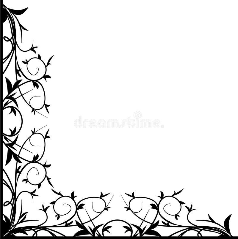 black den blom- hörndesignen royaltyfri illustrationer