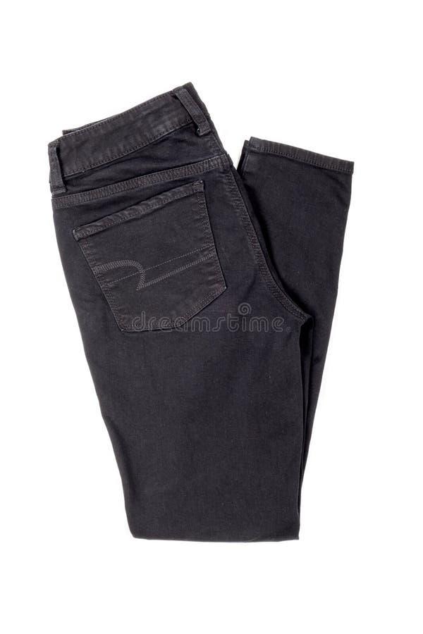 Black Denim Jeans. Isolated on White royalty free stock photo