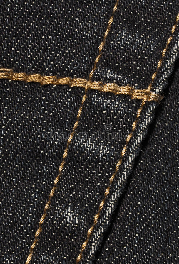 Black denim with seams royalty free stock photos