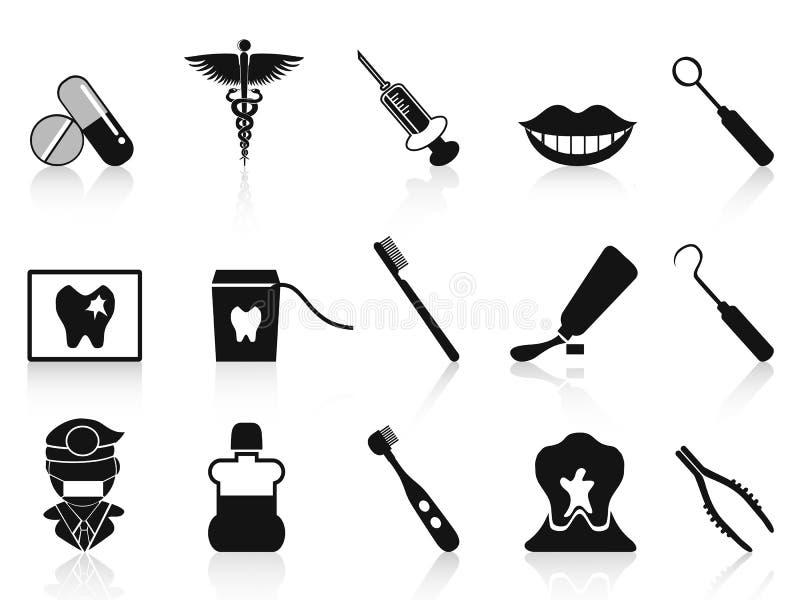 Black dental icons set. Isolated black dental icons set from white background stock illustration