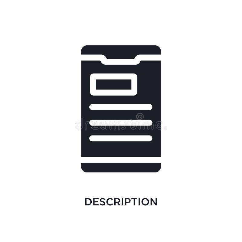 Black description isolated vector icon. simple element illustration from mobile app concept vector icons. description editable. Logo symbol design on white royalty free illustration