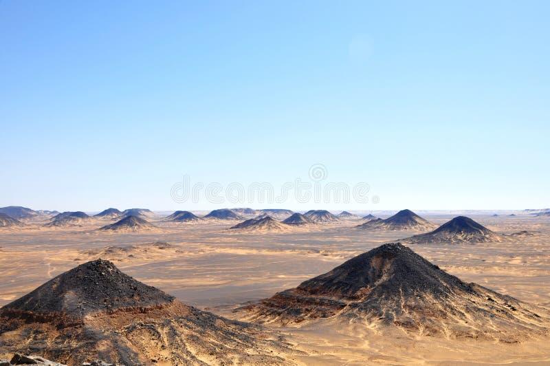 Black desert in Egypt stock photography