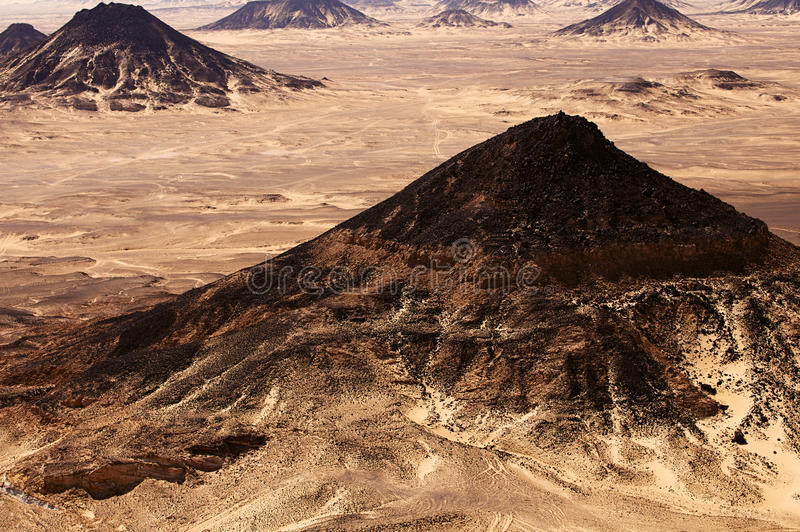 Black Desert in great Sahara, western Egypt. Black Desert in Sahara, western Egypt stock image