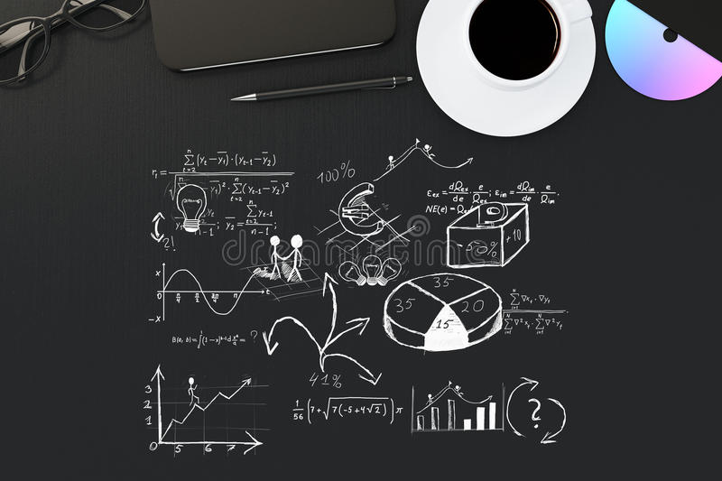 Black desktop with business sketch. Top view of black desktop with business sketch, coffee cup, cd, smartphone, pen and glasses. 3D Rendering stock images