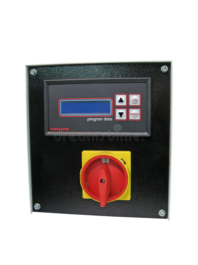 Black dial control panel isolated, red switch royalty free stock photo