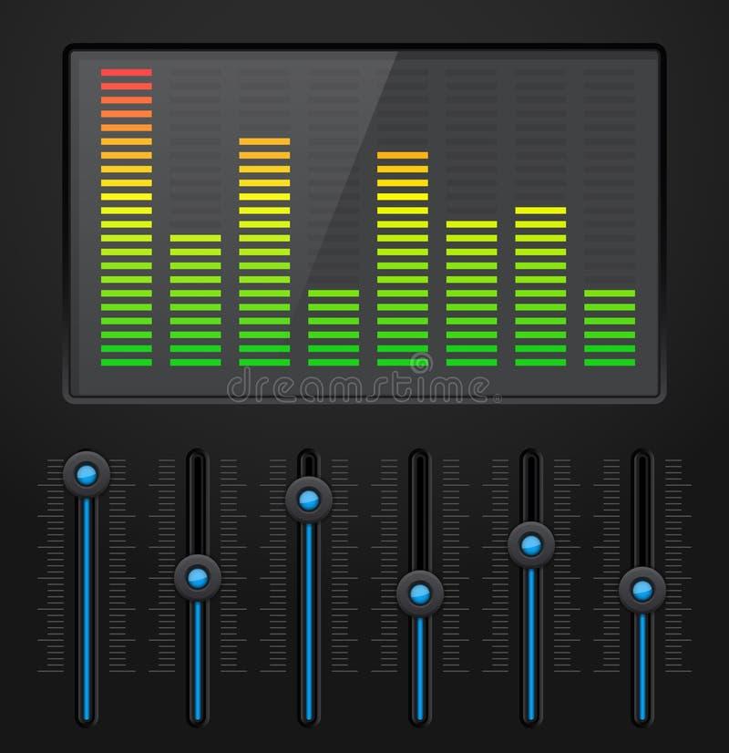 Black digital equalizer with blue slider buttons vector illustration