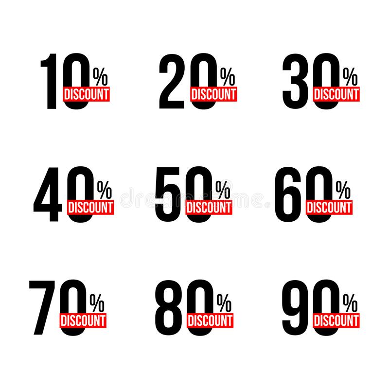 Black discount announcements set with sale percents numbers. From ten to ninety. Black and red discount announcements set with sale percents numbers. From ten to royalty free illustration