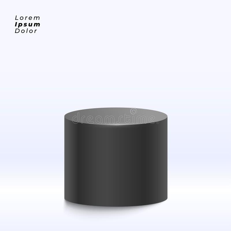 Black display stand on studio background stock illustration