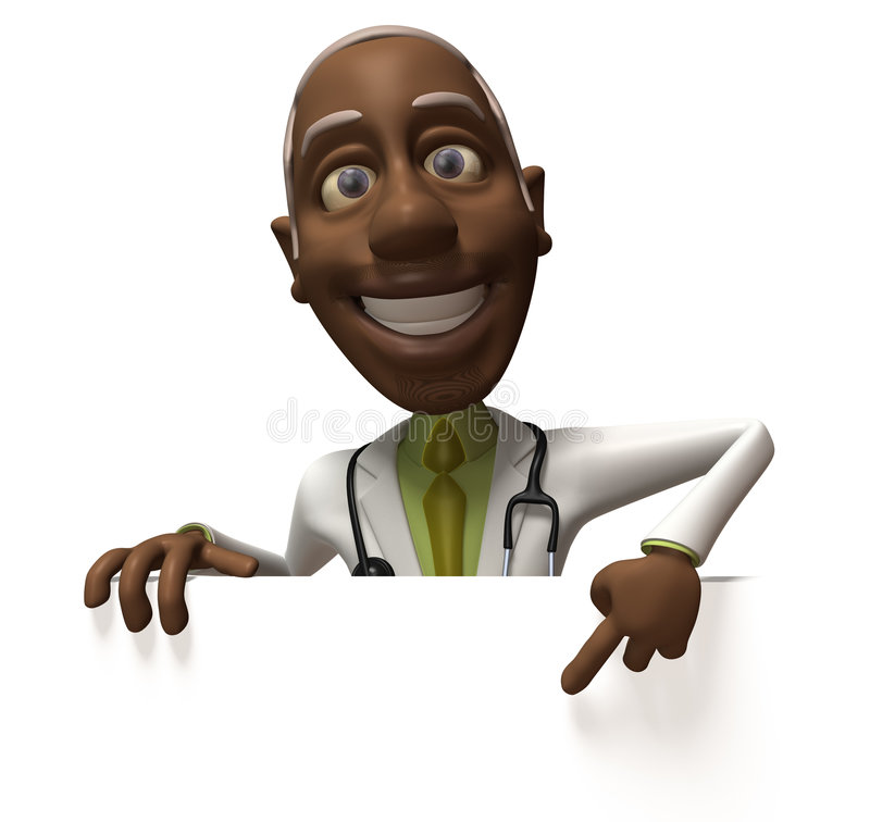 Black doctor with a blank sign royalty free illustration